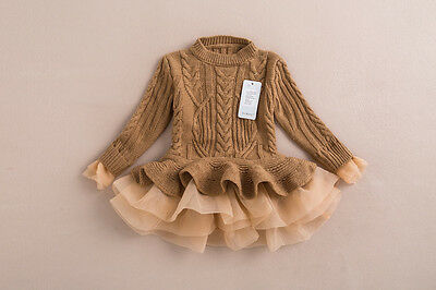 Girls Infant Toddler Brown Sweater Tutu Lace Dress, Fall Winter Blowout Sale