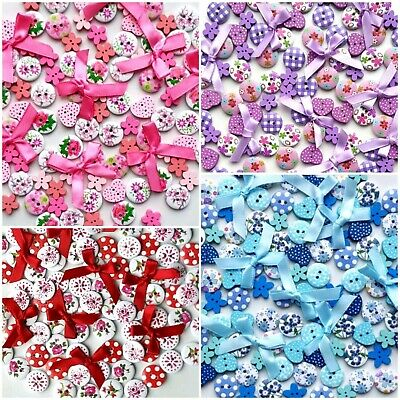 50 -100 Lovely Quality Buttons Bows Craft Cardmaking Scrapbooking Embellishments