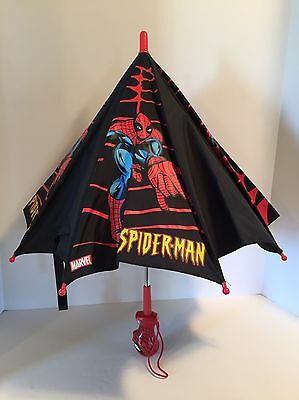 Rare ALL BLACK Marvel Spider Man Kids Childs Umbrella 3D Figure Head Handle 2002