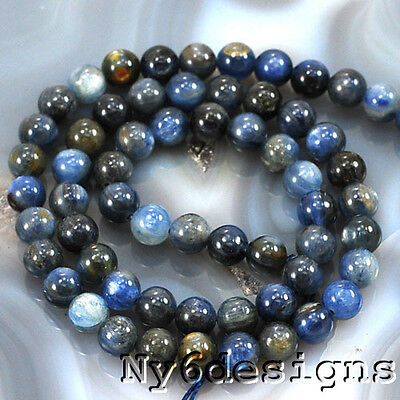 "* Ny6design 6x6mm Natural Blue Kyanite Round Beads 15"" (KY51)a"