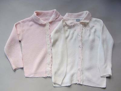 2 Vintage 1950's toddler cardigans pink & white embroidery age 3