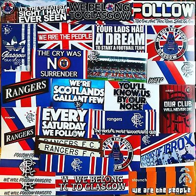100 x Glasgow Rangers Ultras Stickers - Based on Flag Poster Badge Shirt Scarf