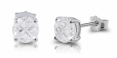 Sterling Silver Round Invisible Cut Cubic Zirconia Basket Stud Earrings