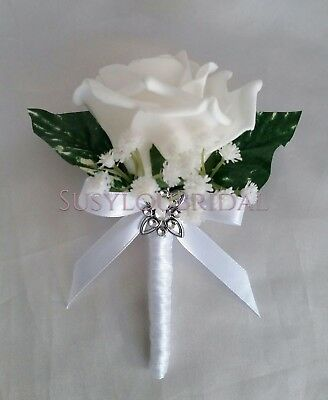 Wedding Single And Double Pin On Corsages Artificial Rose Various & Gypsophila