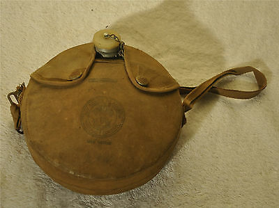 Vintage Boy Scouts Official Camping Canteen w/ Canvas Snap Cover & Cap 1970's