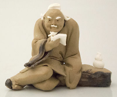 Japanese NETSUKE Scholar in Clay with Potter's Box