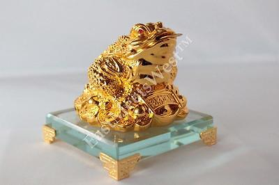 Golden Feng Shui Wealth Lucky Money Frog Toad On Gold Coins Ingots Crystal Base