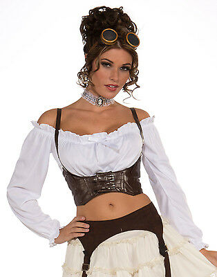 Steampunk Victorian Brown Buckle Corset Belt Waist Cincher Halloween Costume Top