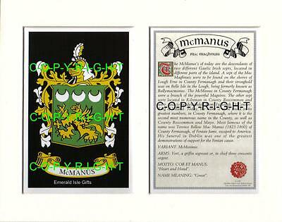MCMANUS Heraldic Mount Coat of Arms Crest with Family History