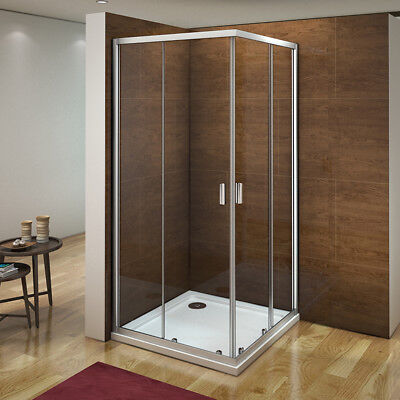 Corner Entry Glass Sliding Shower Enclosure Cubicle Door Screen Stone Tray&Waste