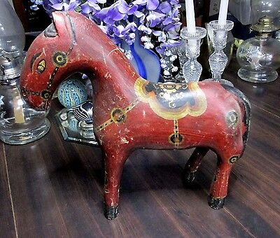 Antique Folk Art Carved Wood Horse Figurine Painted Hand Made Collectible Rare