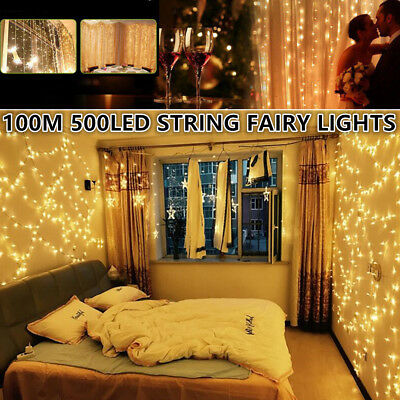 Waterproof 100M 500LED Warm White Decorative Fairy Party String Light