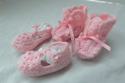 lot 3 bunny rabbit slippers hand knit newborn baby booties mary jane shoes MINT