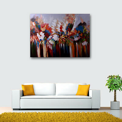 Modern Abstract Colorful Oil Painting Canvas Wall Art Decor On Handpainted Frame