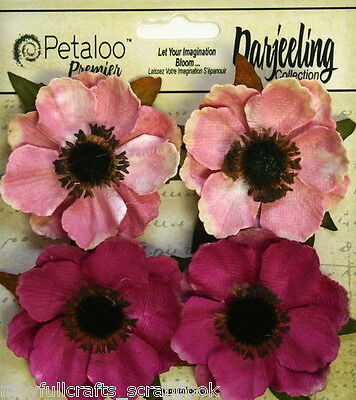 PINK x 4 Paper ANENOME Mix Flowers 50-55mm with Black Centre Darjeeling Petaloo