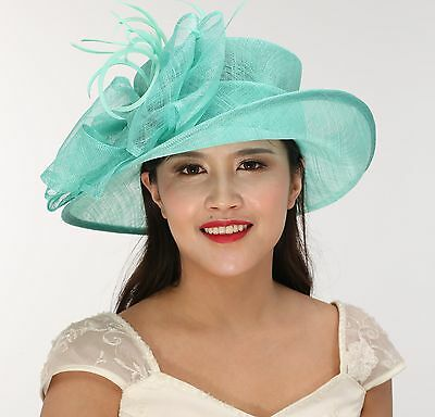 Church Kentucky Derby Carriage Tea Party Wedding Wide brim Sinamay Hat Turquoise