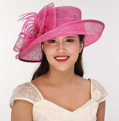 Church Kentucky Derby Carriage Tea Party Wedding Wide brim Sinamay Hat Hot Pink