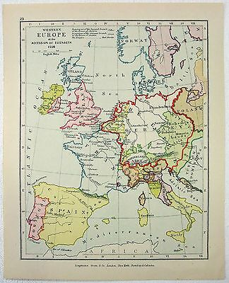 Vintage Longmans Map of Western Europe in 1558 at the Accession of Elizabeth