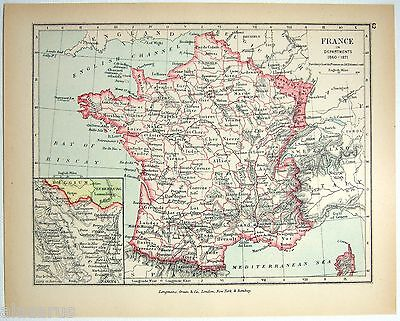 Vintage Map of France in Departments 1860-1871 by Longmans Green 1902