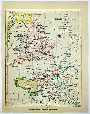 Vintage Longmans Map of England & Its French Possessions in the Year 1087