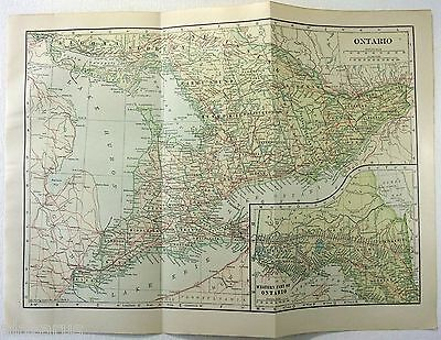 Original 1914 Map of Ontario Canada by L. L Poates