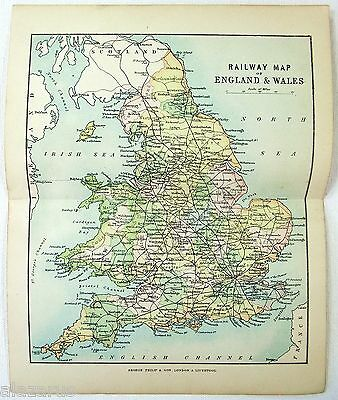 Original Philips 1892 Railway Map of England & Wales