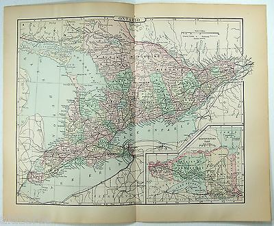 Original 1896 Map of Ontario Canada by A. J. Johnson