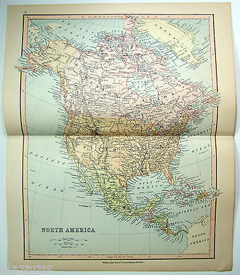Original Map of  North America by Wm. Collins Sons & Co c1875