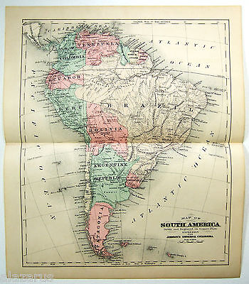 Original Johnson's 1878 Copper-Plate Map of South America. Rare.