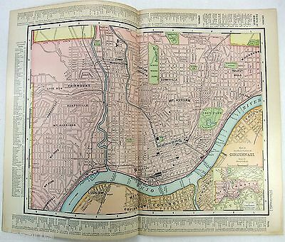 Original 1898 Street & Railroad Map / Plan of Cincinnati, Ohio by Rand McNally