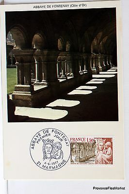 Yt 1938 ABBAYE DE FONTENAY  FRANCE  CARTE MAXIMUM 1° JOUR FCP