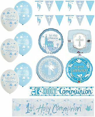 Boys 1st Holy Communion Blue Party Banners Balloons Bunting Napkins Decorations