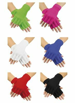 Ladies Neon Fingerless Gloves 80s Fancy Dress Party Costume Accessory