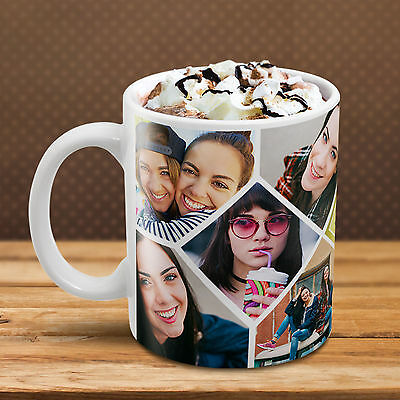 DIAMOND Shape MUG Collage PERSONALISED Custom YOUR Many PHOTO IMAGE TEXT Tea Cup
