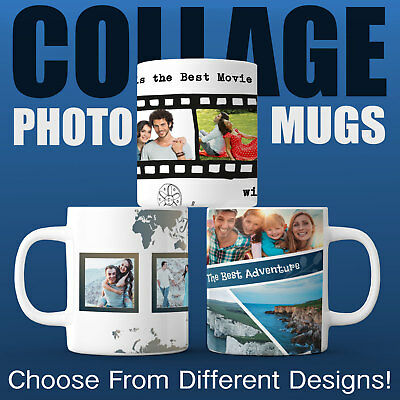MUG COLLAGE Personalised YOUR PHOTO Image Custom Choose from Different Designs!