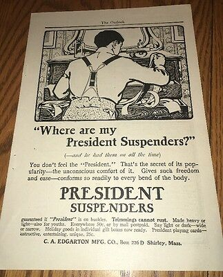 1901 VINTAGE AD PRESIDENT SUSPENDERS CO. Edgartown Mfg, SHIRLEY, MASS.