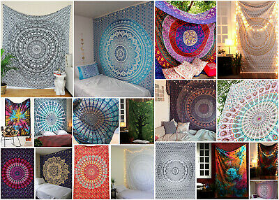 Indian tapestry wall hanging hippie mandala Bohemian bedspread dorm decor throw