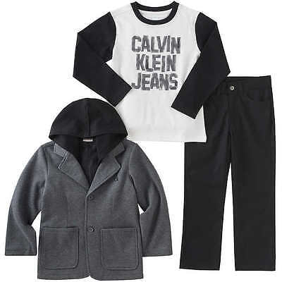 New with Tags Calvin Klein Boys' 3-piece Set - BLACK / GRAY - 3T, 4T, 5, 6, 7.