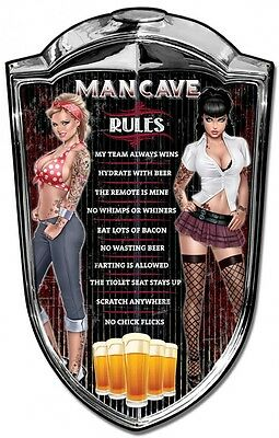 """Man Cave Rules Pinup Plasma Cut Metal Sign ( 36"""" by 24"""" )"""