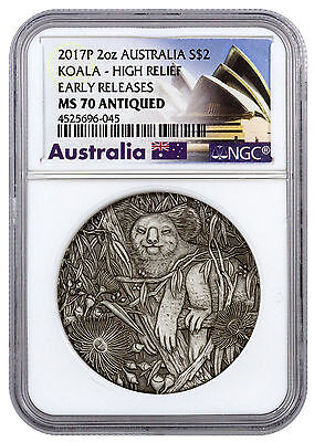 2017-P Australia Koala High Relief 2 oz. Silver Antiqued $2 NGC MS70 ER SKU45826