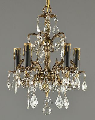 Spanish Brass and Crystal Pendant Chandelier c1950 Vintage Antique Glass Gold