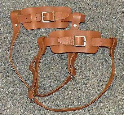 Nice sturdy pair of brown leather bindings for snowshoes FREE SHIPPING!