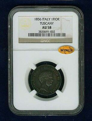 Italy / Italian States  Tuscany  1856  1 Fiorino Silver Coin Ngc Certified Au58
