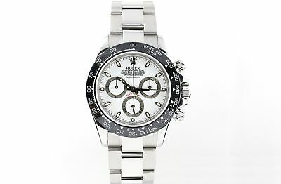 Rolex 116520 Daytona Watch Stainless Steel with  White Face Black Ceramic Bezel