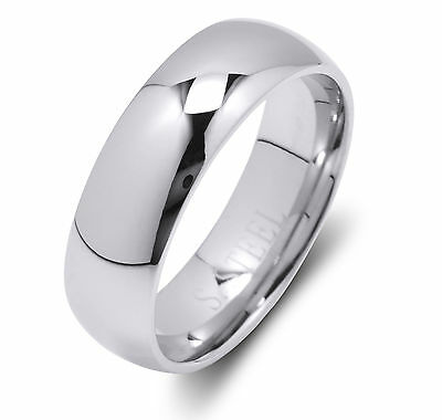 De Lelu Mens Womens 316L Stainless Steel Wedding Ring Band 6MM