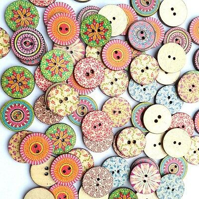 50PCS Vintage Wooden Round Buttons Sewing Clothings Handmade DIY Scrapbooking