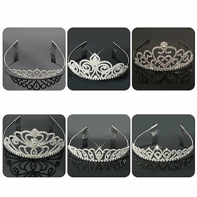 New Bridal Princess Rhinestone Pearl Crystal Hair Tiara Wedding Crown Headband