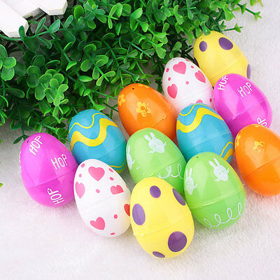 12PCS ABS Painting Easter Eggs Crafts Kids Gift Ornaments Decor Party Home