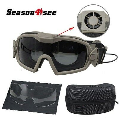 Outdoor Sports Motorcycle Airsoft Regulator Goggle Glasses With Fan & 2 Lens DE