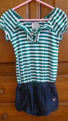 GUESS White Green Striped Blue Jean Denim Jumpsuits Rompers Girls Size 8